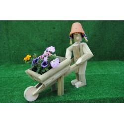 Girl or boy with wheelbarrow