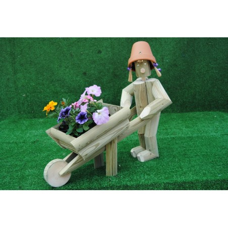 Girl or boy with a wheelbarrow