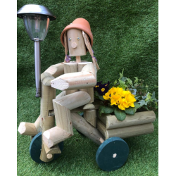 Wooden trike with solar light